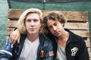 NEW YORK, NY - OCTOBER 02: Max Harwood and Danny Miller of Lewis Del Mar pose for a portrait during The Meadows Music & Arts Festival 2016 at Citi Field on October 2, 2016 in New York City. (Photo by Kris Connor/Getty Images)